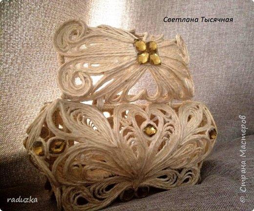 Шкатулка с цветком. Джутовая филигрань. фото 8