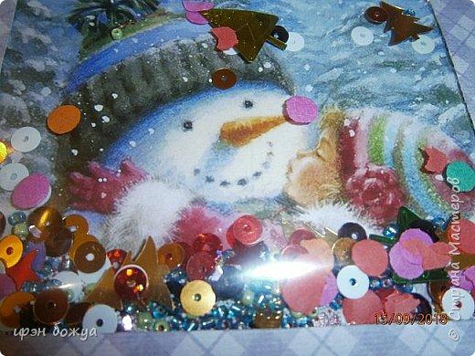 Посмотрев в Интернете мастер-классы по шейкерам решила что надо освоить и мне этот вид открыток. Сделала первую открытку. Взяла заготовку открытки (заказываю в типографии по своему эскизу), сделала рамку, заполнила и украсила. В работе использовала самодельный цветок, вырубку, стразы, пайетки, мелкий бисер,конфетти. фото 11