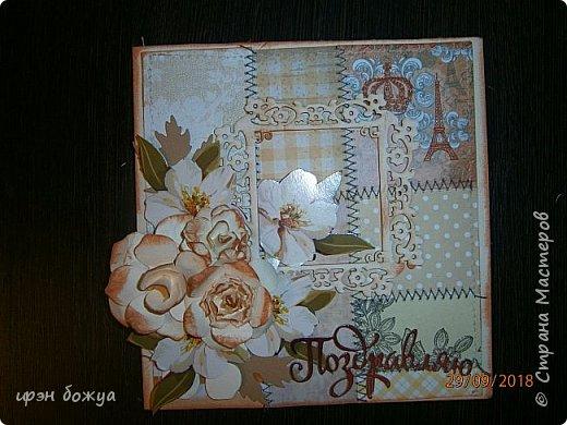 Здравствуйте мастера! Сегодня я с открыткой,которую сделала за 2 часа, используя заготовки. Как-то сшила остатки скрапбумаги в листы формата А5 для фотоальбома. Альбом пока не сложился, а заготовочки идут на открыточки. В этой открытки использовала такие шитые листочки, чипборд в виде рамки, плоские цветочки вырезаны с коробки конфет и объемные цветочки- это самодельные, сделанные с помощью ножа с Алиэкспресс. Надпись -вырубка. В общем подобрала материалы по цветовой гамме и собрала композицию. Открытка получилась нежной. Мне нравиться. фото 9