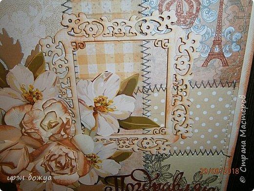 Здравствуйте мастера! Сегодня я с открыткой,которую сделала за 2 часа, используя заготовки. Как-то сшила остатки скрапбумаги в листы формата А5 для фотоальбома. Альбом пока не сложился, а заготовочки идут на открыточки. В этой открытки использовала такие шитые листочки, чипборд в виде рамки, плоские цветочки вырезаны с коробки конфет и объемные цветочки- это самодельные, сделанные с помощью ножа с Алиэкспресс. Надпись -вырубка. В общем подобрала материалы по цветовой гамме и собрала композицию. Открытка получилась нежной. Мне нравиться. фото 6