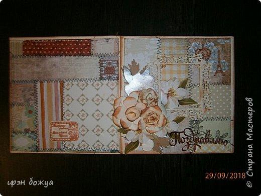 Здравствуйте мастера! Сегодня я с открыткой,которую сделала за 2 часа, используя заготовки. Как-то сшила остатки скрапбумаги в листы формата А5 для фотоальбома. Альбом пока не сложился, а заготовочки идут на открыточки. В этой открытки использовала такие шитые листочки, чипборд в виде рамки, плоские цветочки вырезаны с коробки конфет и объемные цветочки- это самодельные, сделанные с помощью ножа с Алиэкспресс. Надпись -вырубка. В общем подобрала материалы по цветовой гамме и собрала композицию. Открытка получилась нежной. Мне нравиться. фото 7