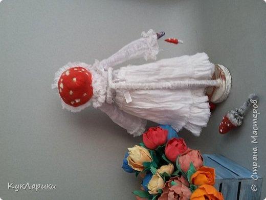 Мухомора.Кукла в технике грунтованный текстиль+декупаж.Только его под одеждой не видно.  фото 6