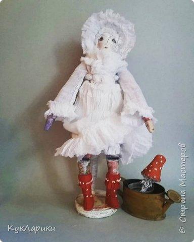 Мухомора.Кукла в технике грунтованный текстиль+декупаж.Только его под одеждой не видно.  фото 2