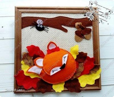Вот такая картина на тему осень сотворилась))), лисичка , паучок и желуди сшиты вручную, ствол и листики на машинке.              ***** Осень ‒ рыжая лиса, Красит в рыжий цвет леса.(СБ)              ***** фото 1