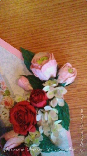 Открытка-конверт ко дню рождения. Увидела что-то похожее в инете. Книжечка за картинкой с балериной вынимается, там пожелания. фото 4
