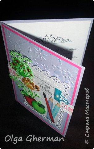 Здравствуйте, дорогие жители Страны Мастеров!  Вот , позади ещё один праздник и хлопоты, связанные с ним...  Наконец-то, появилось время поделиться с вами тем, что получилось сделать за это время... Какой же праздник без открыток ?!... Делала открытки и для своих детей ( в подарок учителям)  и на заказ.  В общем, вот что получилось у меня в этом году: фото 14