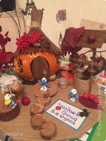 К празднику осени изначально планировался только домик из тыквы. А потом как то само собой понеслось)))овечка, колодец. Дальше решили с сыном в наш домик ещё и смурфиков поселить. фото 3