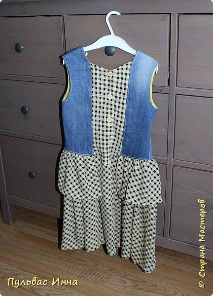 Здравствуйте дорогие мастера. Приехала я в гости к внучке. Доченька мне сказала, что очень много скопилось старых джинс и есть платья  оставшиеся от бабушки, может я чего-нибудь придумаю.... вот и получилась у меня такая коллекция) фото 2