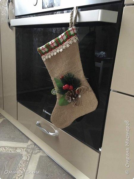 Рождественский сапожок из мешковины фото 1