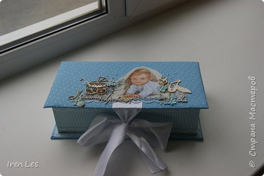 """Здравствуйте, дорогие жители Страны. Хочу показать вам коробочку """"Мамины сокровища"""", которую делала на заказ.Размер коробочки 25*12,5 см. Выполнена в голубых тонах. фото 1"""