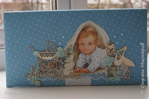 """Здравствуйте, дорогие жители Страны. Хочу показать вам коробочку """"Мамины сокровища"""", которую делала на заказ.Размер коробочки 25*12,5 см. Выполнена в голубых тонах. фото 2"""
