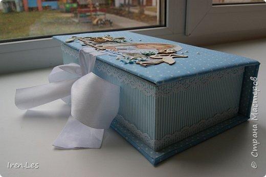 """Здравствуйте, дорогие жители Страны. Хочу показать вам коробочку """"Мамины сокровища"""", которую делала на заказ.Размер коробочки 25*12,5 см. Выполнена в голубых тонах. фото 3"""