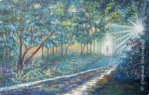 "Картина "" Лучистое утро"" холст на картоне 35х50, масло. Написана по видеоуроку Виктора Юшкевича"