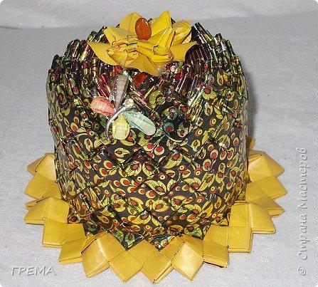 """Шкатулка выполнена на основе бабины от скотча,стенку формировала вертикально,а не горизонтально,как обычно,просто хотелось сохранить рисунок фантиков от конфет :Славяночка"""". фото 1"""