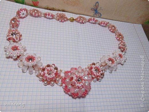 """""""Розовое чудо """". Ожерелье из разных сегментов ,6 разных деталей и магнитный замочек для удобства . фото 1"""