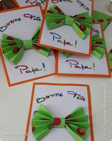 """Вот такие простые и красочные открытки можно сделать вместе с детками для папы. Надпись можно поменять: """"с днём папы"""" """"с днём рождения папа""""... фото 2"""