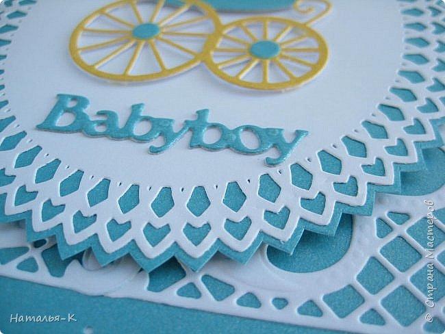 Доброе утро, день или вечер, всем кто заглянул ко мне в гости! Сегодня я пришла показать открытки для новорожденых деток. Бумага перламутровая  плотностью 220 гр. фото 7