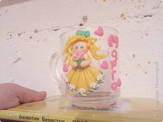 Кружечка для дочки с декором из полимерной глины