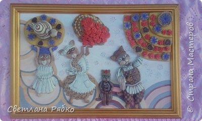 "Объёмная картина в технике солёное тесто Чаепитие ""Ваниль""  71см х 48 см. фото 1"