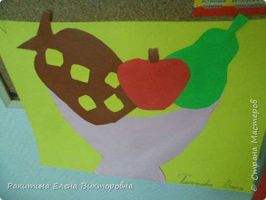 Всем добрый день! На уроке технологии мы с ребятами натюрморт из овощей и фруктов  изображали.  Вырезали по трафаретам, кто-то сделал объемные, кто-то плоскостными. Вот такие картины получились. фото 14