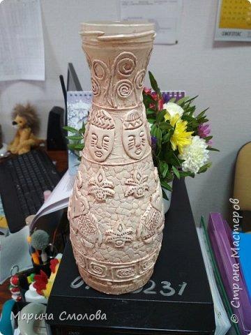 """вот такую вазу сделала на работу. В кабинете сидит """"бабский батальон"""", все любят цветы, но до недавнего времени они распихивались по пустым бутылкам и банкам от кофе. Теперь на работе будет уже 2 приличные вазы.  фото 2"""
