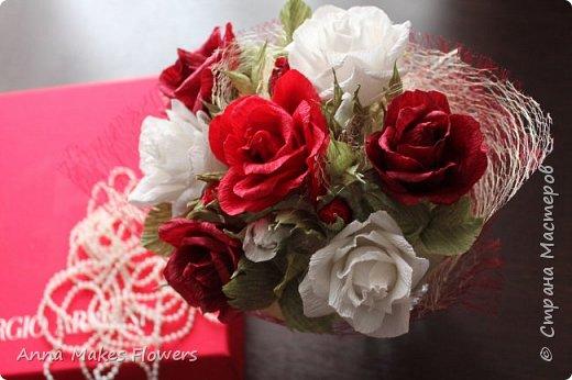 Букет роз из гофрированной бумаги  фото 2
