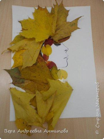 Добрый день все заглянувшим! Предлагаю посмотреть работы моих воспитанников, учеников 3 класса. Картинку с девушкой распечатали с интернета, а потом ребята украшали портрет листьями.  И вот такие красавицы у них получились. Работа Никиты.  фото 2