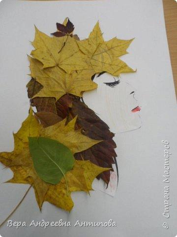 Добрый день все заглянувшим! Предлагаю посмотреть работы моих воспитанников, учеников 3 класса. Картинку с девушкой распечатали с интернета, а потом ребята украшали портрет листьями.  И вот такие красавицы у них получились. Работа Никиты.  фото 6