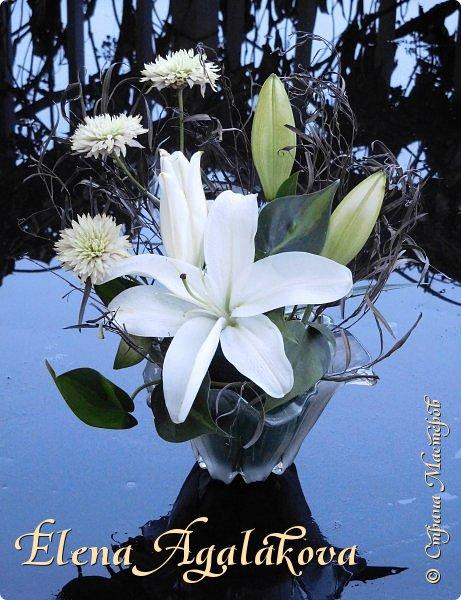 Добрый день! Сегодня я к вам снова с композициями из цветов . Этим летом я решила осуществить еще одну свою мечту - научится цветочному дизайну. Очень люблю цветы, травки-муравки, деревья и вообще все растения. Очень увлекательно работать с цветами! Я взяла небольшой курс по цветочному дизайну. Дома делаю оранжировки из того что под рукой, беру цветы которые найду, даже полевые и из своего садика.  Конечно сейчас все цветы в садике отцвели... поэтому приношу из магазина где работаю. Другие композиции делала для цветочного магазина где начала работать. Делюсь красотой! фото 12