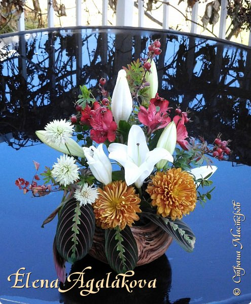 Добрый день! Сегодня я к вам снова с композициями из цветов . Этим летом я решила осуществить еще одну свою мечту - научится цветочному дизайну. Очень люблю цветы, травки-муравки, деревья и вообще все растения. Очень увлекательно работать с цветами! Я взяла небольшой курс по цветочному дизайну. Дома делаю оранжировки из того что под рукой, беру цветы которые найду, даже полевые и из своего садика.  Конечно сейчас все цветы в садике отцвели... поэтому приношу из магазина где работаю. Другие композиции делала для цветочного магазина где начала работать. Делюсь красотой! фото 9