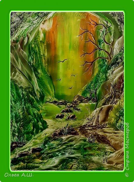 """Сегодня у меня три картины в зеленом цвете.  """"Зеленый рай"""" .А3 фото 1"""