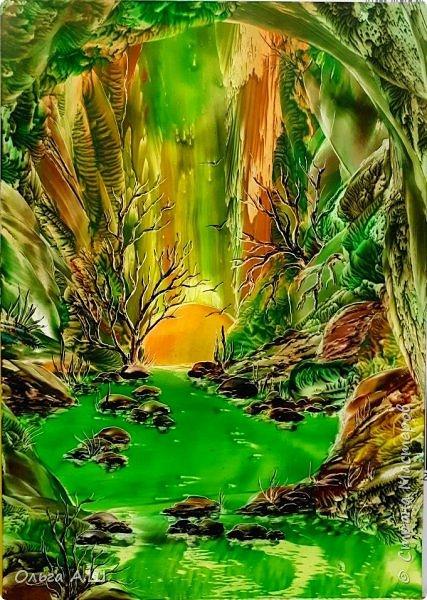 """Сегодня у меня три картины в зеленом цвете.  """"Зеленый рай"""" .А3 фото 2"""