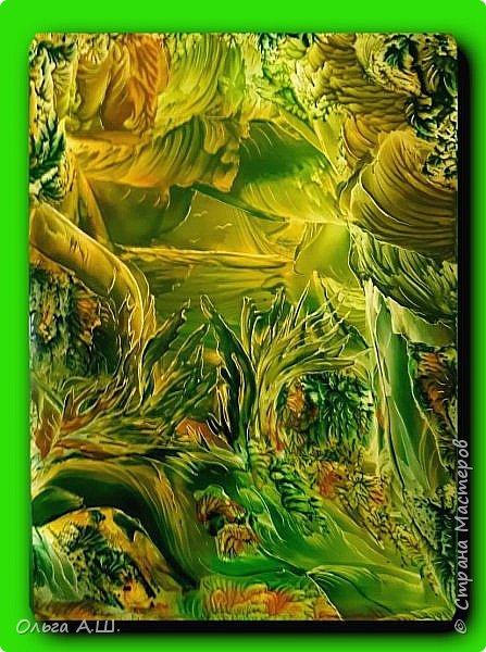 """Сегодня у меня три картины в зеленом цвете.  """"Зеленый рай"""" .А3 фото 3"""