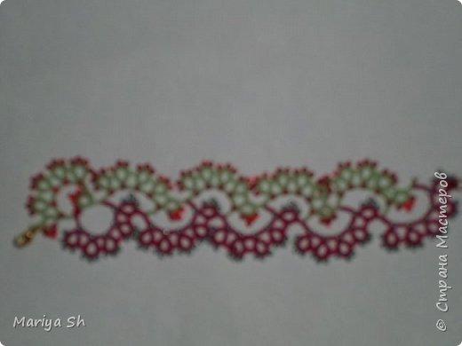 """Ожерелье, браслет, сережки выполнены в технике фриволите с бисером. Данный комплект сделан в подарок для десятилетней девочки. Схемы взяты из книги Т. Уткиной """"Чудесные кружева"""". фото 4"""