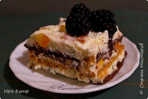 Нежный десерт с ежевикой