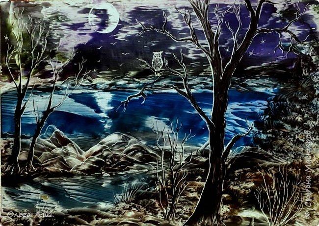 """""""Ночь, луна, сумерки."""". Серия работ одной темы. Первые две формата А3. Третья А4.(или немного больше)))) фото 1"""