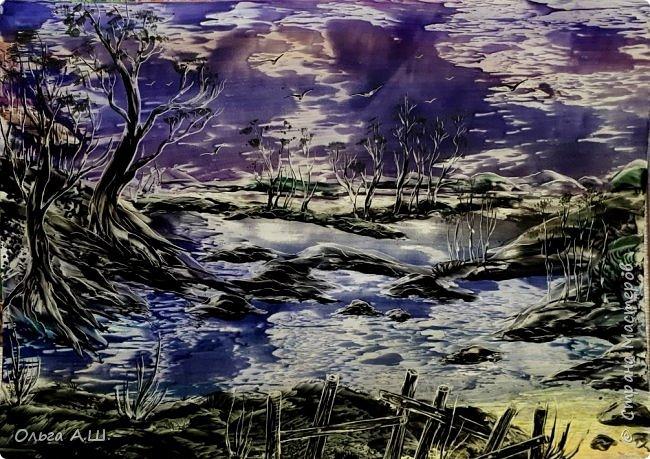 """""""Ночь, луна, сумерки."""". Серия работ одной темы. Первые две формата А3. Третья А4.(или немного больше)))) фото 2"""