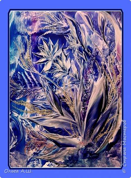 """Вот такие """"зимние """" цветы вашему вниманию. Хотелось их изобразить, как узоры на морозном окне. фото 1"""