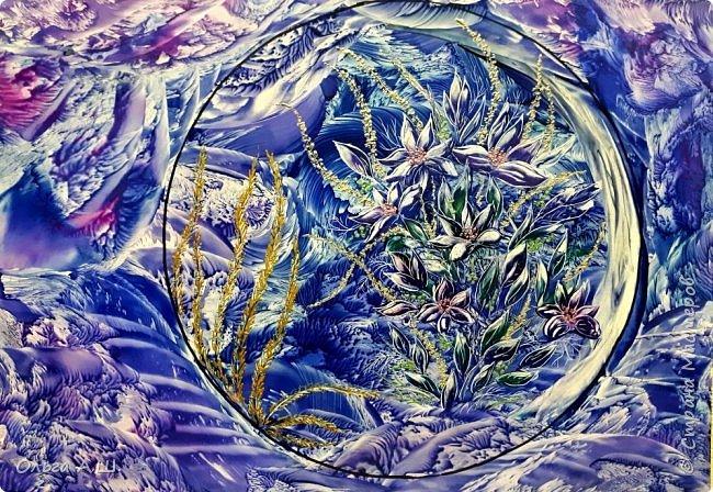 """Вот такие """"зимние """" цветы вашему вниманию. Хотелось их изобразить, как узоры на морозном окне. фото 3"""