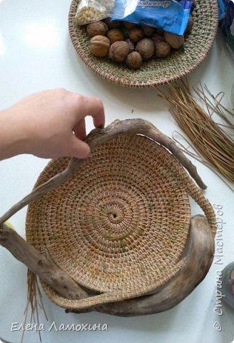 Это блюдо сплетено полностью из иголок сосны в технике спирального безниточного плетения фото 3