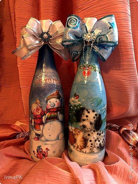 Сделала бутылки к Новому году Свиньи!!! фото 7