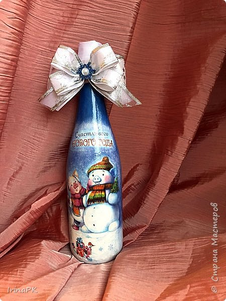 Сделала бутылки к Новому году Свиньи!!! фото 5
