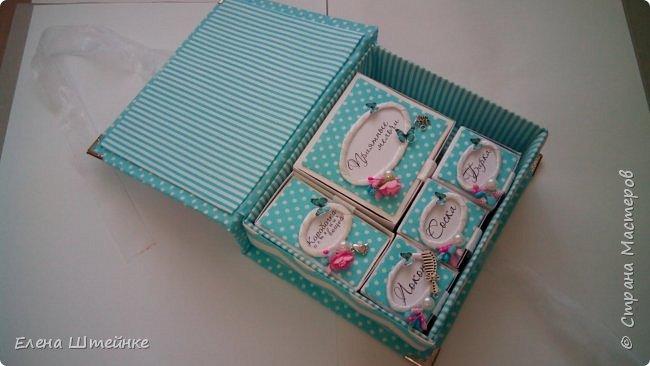 Картонная шкатулка Маминых сокровищ, обтянутая тканью. Сделана на заказ в бирюзовом цвете для девочки. фото 9