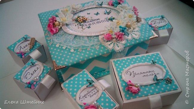 Картонная шкатулка Маминых сокровищ, обтянутая тканью. Сделана на заказ в бирюзовом цвете для девочки. фото 1