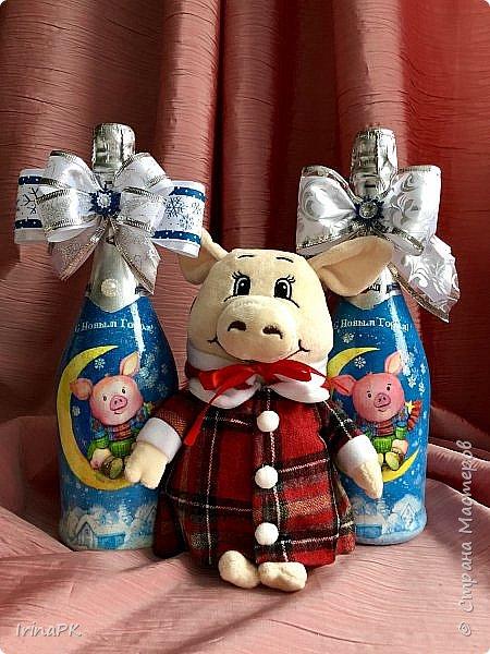 Сделала бутылки к Новому году Свиньи!!! фото 2
