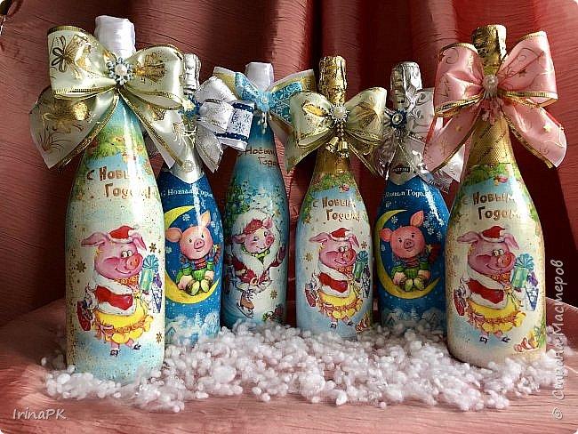 Сделала бутылки к Новому году Свиньи!!! фото 17
