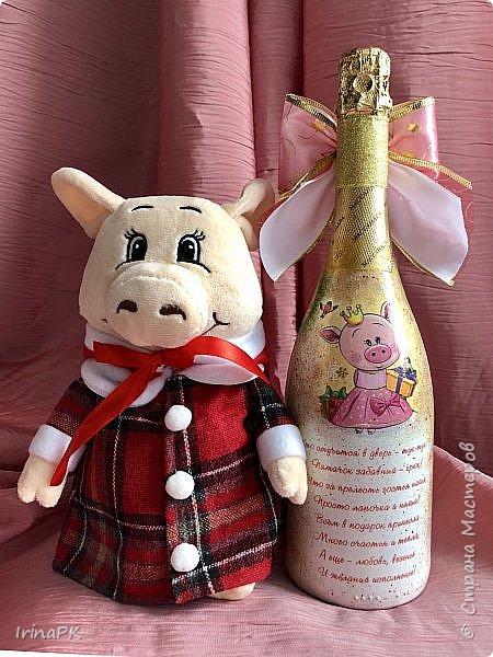 Сделала бутылки к Новому году Свиньи!!! фото 11