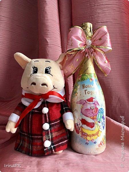 Сделала бутылки к Новому году Свиньи!!! фото 10