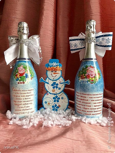 Сделала бутылки к Новому году Свиньи!!! фото 3