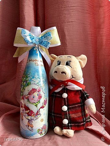 Сделала бутылки к Новому году Свиньи!!! фото 15